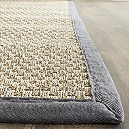 Safavieh Natural Fiber Collection NF114Q Natural and Dark Grey Seagrass Runner, 2 feet 6 inches by 6 feet (2\'6\