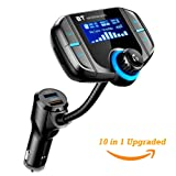 [Upgrade] Acekool Bluetooth FM Transmitter with 1.7''Display, Car FM Audio Adapter Receiver with QC3.0,Wireless Radio Transmitter Adapter(AUX Input/Output, TF Card Slot,Hands Free Calling) (Color: Black+BT4.2)