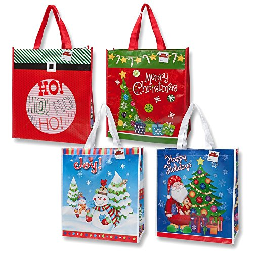 Jumbo Christmas Tote Bags - 12 Pack