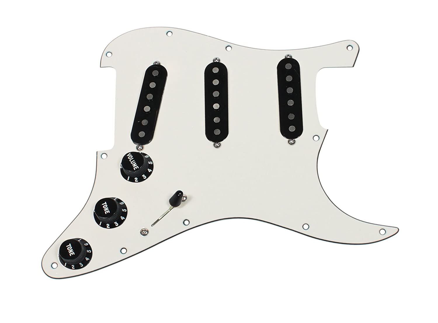 Fender Custom '54 Black Loaded Strat Pickguard Parchment / Black boat output loaded jack chrome plate socket for fender strat