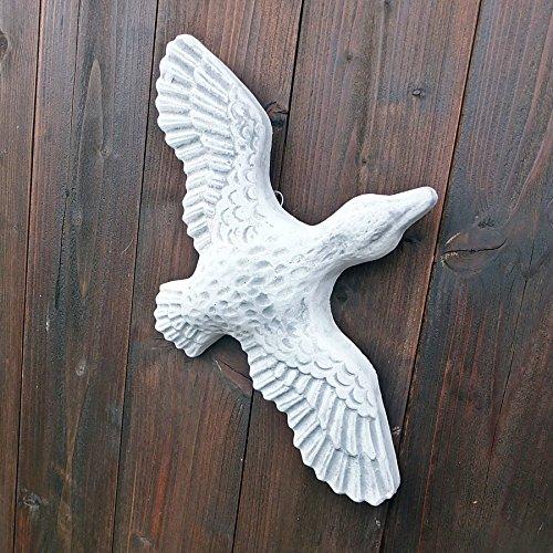 Steinfigur Wandrelief Ente Gans Tierfigur Vogel hängend Garten Deko-Steinguss patiniert Steinguss Frostfest