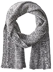 True Religion Men's 2-Tone Knit Scarf, Factory Grey, One Size