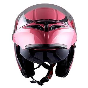 9a599c36 1Storm Motorcycle Modular Full Face Helmet Flip up Dual Visor Sun Shield: HB89  Glossy Pink (Color: ...