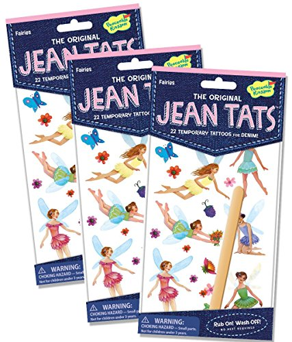 Peaceable Kingdom Jean Tats Fairies Temporary Tattoos for Fabric - 3 Pack