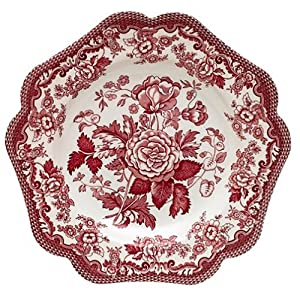 Spode Garden Cranberry and White 9-Inch Buffet Plates