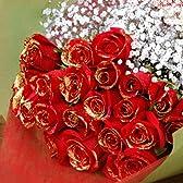 赤薔薇 レッドローズ 赤バラ 赤いばら ゴールドラメ付き20本とキラキラ白いかすみ草の花束 クリスマス、お誕生日、お祝いにお届け