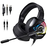 Gaming Headset with Mic for PS4, PC, Xbox One S, Laptop, Mac, Stereo Professional Gamer Headphones with Microphone LED Lights, Noise Cancelling for Computer, Ipad, Smartphone, Nintendo Switch - RGB (Color: Black)