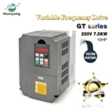 Vector Control CNC VFD Variable Frequency Drive Controller Inverter Converter 220V 7.5KW 10HP For Spindle Motor Speed Control HUANYANG GT-Series (220V, 7.5KW) (Color: 7.5KW, Tamaño: 220V)