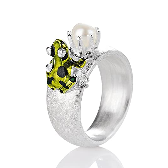 Drachenfels Women's Ring - 925 Sterling Silver-Matte Pearl Giftpfeilfroschkönig Brilliant White Freshwater-Cultured PEARL-D GFR 132 / AG
