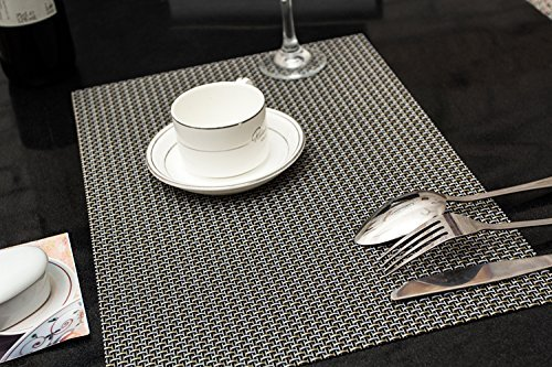 High Quality PVC Insulation Anti-skidding Dining Room Placemat- Dining Room Placemats for Table Heat Insulation Anti-skid Stain-resistant Simple Style Eat Mat – Set of 4 (Silver+Black)