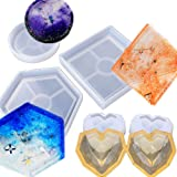 DOYOLLA 4 Pack DIY Silicone Jewelry Holding Trays Molds, Hexagon Round Square Heart Resin Casting Molds for Polymer Clay, Crafting, Resin Molds for DIY Coaster, Flower Pot, Ashtray, Candle,Soap Holder (Color: white)