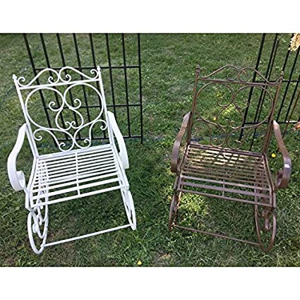 Rocking Chair Sedia Sedia a dondolo da giardino interno esterno in ferro anticato bianco 55x 80x 92cm