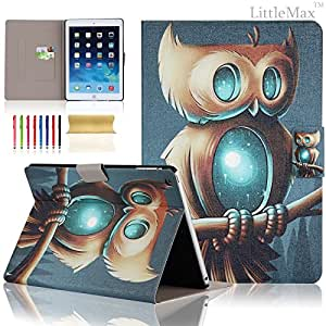 iPad Air Case,iPad 5 Case - LittleMax(TM) Slim [Card Slot] Flip Leather Case [Auto Sleep/Wake Feature] *Stand Case Cover* for iPad Air / iPad 5 [Free Cleaning Cloth,Stylus Pen]--Owl