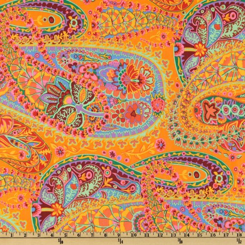 Best Price 45  Wide Kaffe Fassett Paisley Jungle Tangerine Fabric By The YardB001D6VWHK
