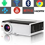 Smart TV Projector Bluetooth Wireless, EUG 4200 Lumen LED Home Cinema Video Projectors with Android 6.0,Wi-Fi,HiFi Speaker,Max 200