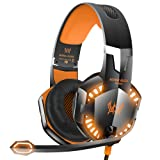 VersionTECH. G2000 Stereo Gaming Headset for Xbox one PS4 PC, Surround Sound Over-Ear Headphones with Noise Cancelling Mic, LED Lights, Volume Control for Laptop Mac iPad Nintendo Switch - Orange (Color: Orange)