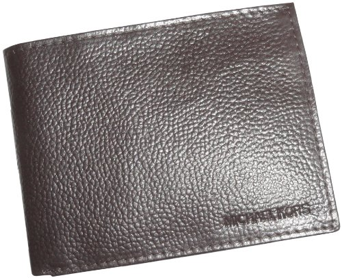 Michael Kors Men'S Brown Textured Genuine Leather | Id Holder | Bi-Fold Wallet