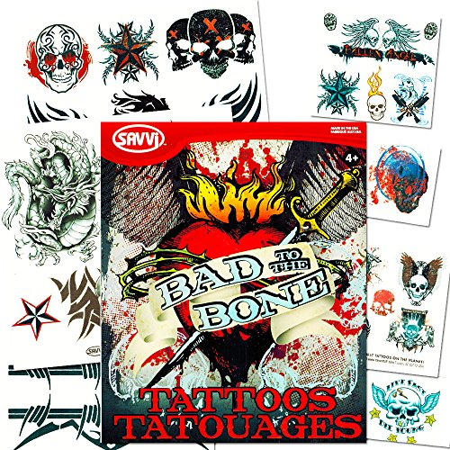 Savvi biker tattoos party favor costume set 35 biker for Vulgar temporary tattoos