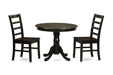 East West Furniture ANPF3-CAP-W 3-Piece Kitchen Table Set, Cappuccino Finish