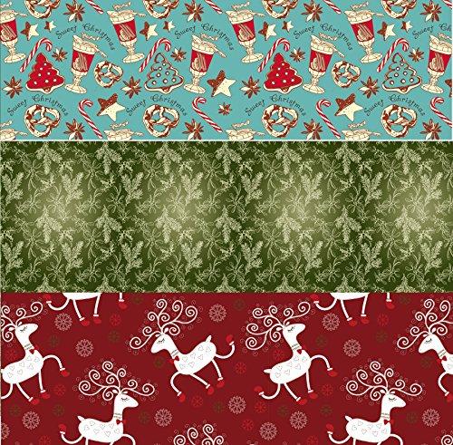 Retro Christmas Kraft Wrapping Paper Sets (Reindeer-Mistletoe-SodaShoppe on Brown Kraft) 0