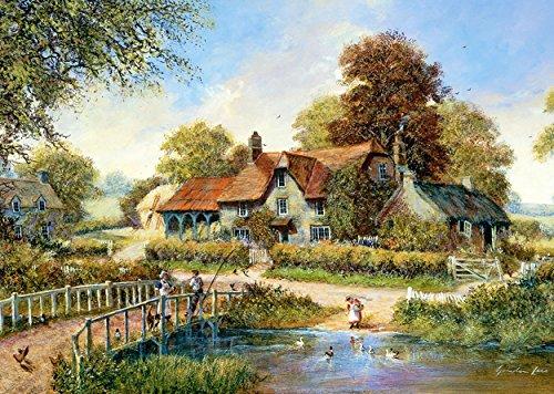 """Puzzle 1000 Teile - großes Cottage """" die alte Brücke """" - Landschaft romantisch altes Dorf englisches Gartenhaus Zeichnung Garden gemalt Garten Blumen am Fluß Haus mit Schilfdach"""