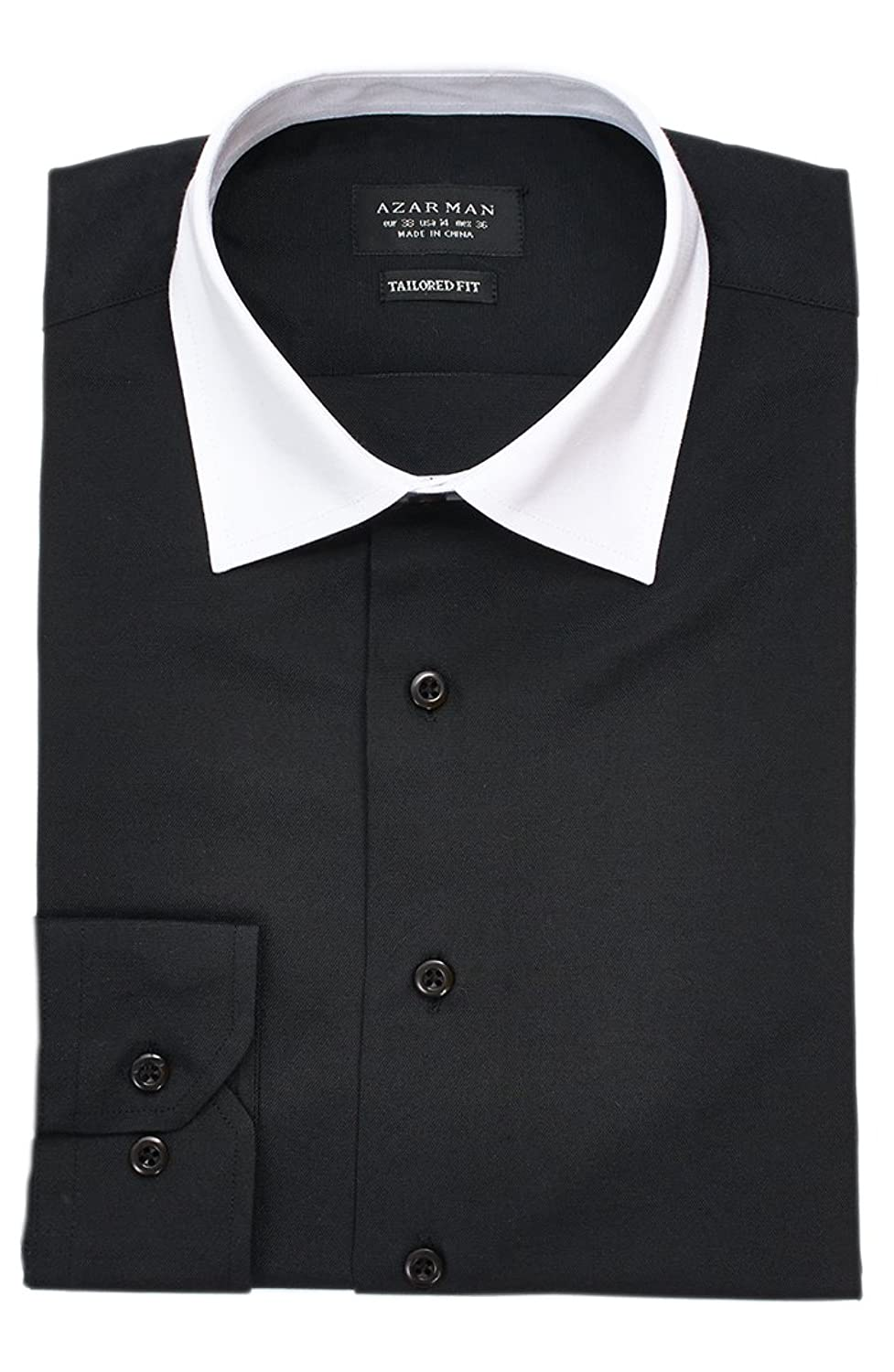 Black Dress Shirt White Collar