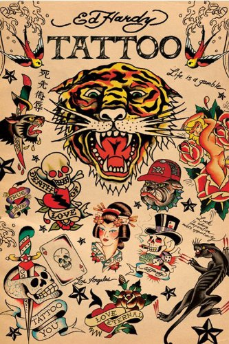 Empire 79091 Ed Hardy Tattoo Collage Poster Stampa - 61 x 91.5 cm