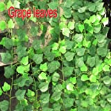 Zehui Garden Home Decor Fake Plant Green Ivy Leaves Vine Foliage Artificial Flower-Grape Leaves