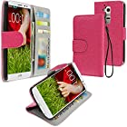 myLife Geranium Pink Pebbled Print {Luxury Design} Faux Leather (Multipurpose - Card, Cash and ID Holder + Magnetic Closing) Folio Slimfold Wallet for the LG G2 Smartphone (External Textured Synthetic Leather with Magnetic Clip + Internal Secure Snap In Closure Hard Rubberized Bumper Holder)