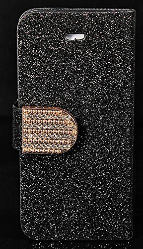 Mylife Shimmering Black And Gold - Modern Design - Textured Koskin Faux Leather (Card And Id Holder + Magnetic Detachable Closing) Slim Wallet For Iphone 5/5S (5G) 5Th Generation Smartphone By Apple (External Rugged Synthetic Leather With Magnetic Clip +