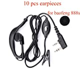 K Head with Microphone PTT Earpiece Headset for 2 PIN Kenwood Baofeng UV-5R 888s Two Way Radio 10 Pack