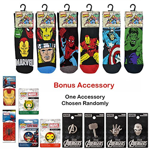 Marvel-Comics-Socks-Mens-Mix-Hulk-Spiderman-Large-And-One-Bonus-Marvel-Accessory-Kit