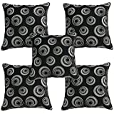 Idrape Velvet 5 Piece Cushion Cover Set- Black, 40 Cm X 40 Cm