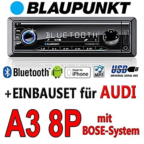 Audi a3 8P-bLAUPUNKT brisbane 230/mP3/uSB avec kit de montage autoradio avec bluetooth