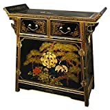 "Unique Furniture Home Décor - 32"" Pine & Crane Chinese Black Lacquer Altar Top Cabinet Chest"