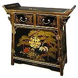 "Unique Furniture Home Décor - 32"" Pine & Crane Chinese Black Lacquer Altar Top Cabinet Chest"