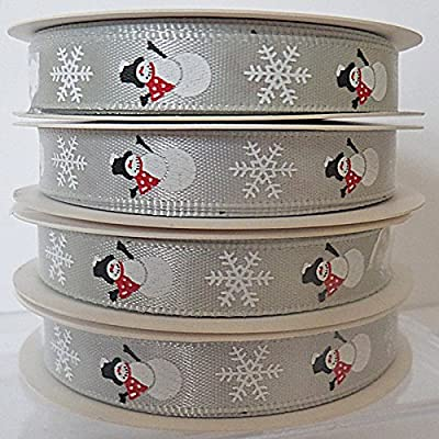 SILVER Christmas Ribbon WITH SNOWMEN & SNOWFLAKES