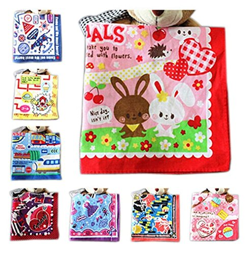 Top Shop Children Cotton Teen Cartoon Animation Animal Print Handkerchief Hankies Set,10 PCS