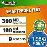 klarmobil Smartphone Flat S in D-Netz Qualität (SIM, Micro-SIM und Nano-SIM, 1,95 EUR mtl., 100 Frei-Minuten in alle deutschen Netze, 300MB Highspeed Internet, 24 Monate Laufzeit)