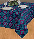 ELAN Cotton Ikat theme based Damask Print Table Cloth with size 150 x 225 cm - 6 Seater (Blue)