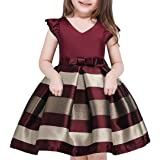 OURDREAM Flower Girl Dresses Hallowmas Ruffles Tutu Kids Knee Sleeveless Pageant Easter Birthday Prom Dresses(Wine,140) (Color: Wine, Tamaño: 7 Tall)