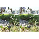 Ntertainment House Set of 2 Beautiful Garden Decorative Solar Powered Glass Clear Crackle Ball Color Changing Light at Sears.com