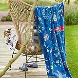 Pip Strandlaken Design Hummingbirds Farbe Moonlight blue 100x180