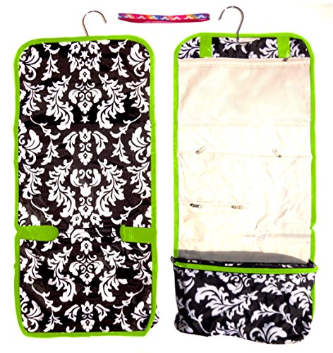 Large Damask Trim Hanging Toiletries Cosmetic Makeup Travel Bag Case Shower Caddy Junior Teen by TravelNut® Unique Cool Birthday Stocking Stuffer Christmas Gift Idea Girl Women Wife Girl