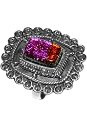 Xtremegems Dichroic Glass 925 Sterling Silver Ring Jewelry Size 8 JJ1649