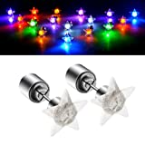 LED Earrings, 4 Pair Glowing Light Up Earrings Bright Stylish Fashion Ear Pendant Stud Stainless for Party Men Women Halloween Thanksgiving (Color: Star 4 pairs)