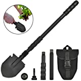 Portable Folding Gardening Shovel Pickaxe with Carrying Pouch Lightweight Durable Military Multitool Tactical Spade for Outdoor Camping Hiking Backpacking Trench Digging Garden Tool Emergency (Color: 24 inch Shovel Black)