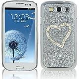 Mavis's Diary Luxury Samsung Galaxy S3 Case Rhinestone Glitter Bling Diamond Hard Back Crystal 3D Pocket Protective Case for Samsung Galaxy 3 i9300 i9305 Diamond Heart Silver