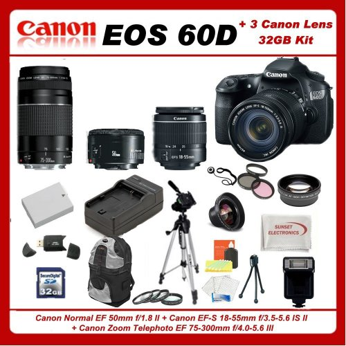 See Canon EOS 60D DSLR Camera Kit with 3 Canon lenses: Featuring Canon EF-S 18-55mm f/3.5-5.6 IS II + Canon Normal EF 50mm f/1.8 II + Canon Zoom Telephoto EF 75-300mm f/4.0-5.6 III Autofocus Lens, Also Includes: 0.45x High Definition Wide Angle Lens & 2x Telephoto HD Lens, 3 Piece Filter Kit & 4 Piece Macro Lens Kit, Extra LE-E6 Replacement Battery & Travel Charger, 32GB SDHC Memory Card & Reader, Deluxe Backpack, Dedicated Flash and Much More... Details