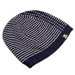 Home Prefer Men's Winter Outdoor Watch Hat Daily Stripe Knit Beanie Cap Navy Blue